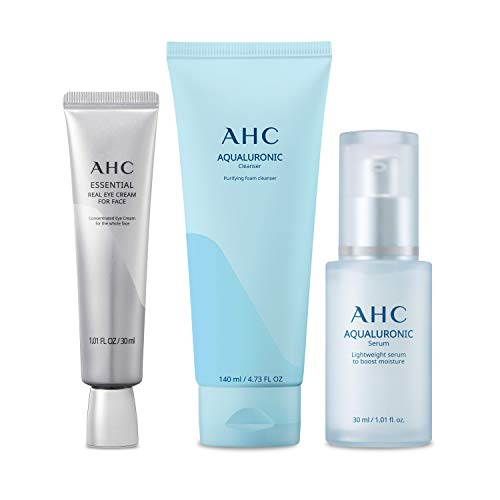 Aesthetic Hydration Cosmetics Skin Care Regimen Pack With Facial Cleanser, Face Serum, and Eye Cream AHC Contains Three Korean Skincare Essentials in One Package 3 Count