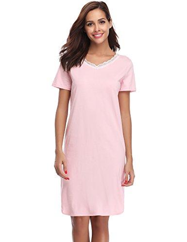 Hawiton Damen Nachthemd Kurz Baumwolle Spitze Nachtwäsche Nachtkleid Negligee Sleepshirt Kurzarm für Sommer Rosa M