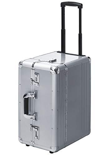 Pilotenkoffer Pilotentrolley Mit Rollen Trolley Aluminium XXL Silber 50 cm Groß Jumbo