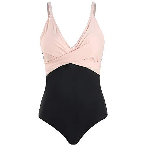 Viloree Costume da bagno intero da donna, push up, con scollo a V, dimagrante rosa + nero. 48