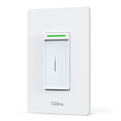 Milfra Smart WiFi Light Switch3 Way Smart SwitchTouch Vibration Needs Neutral Wire 24Ghz WiFi Light Switch Compatible with Alexa and Google Assistant V0 Level Flame Retardant PC Material