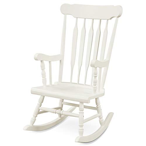 Giantex Rocking Chair Solid Wooden Frame Outdoor & Indoor Rocker for Garden, Patio, Balcony, Backyard Porch Rocker (1, White)