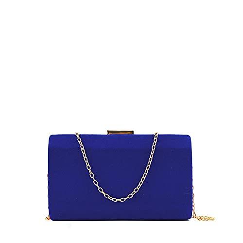 MODELISA - Bolso De Fiesta Clutche Mano Con Cadena Hombro Mujer (Azul)
