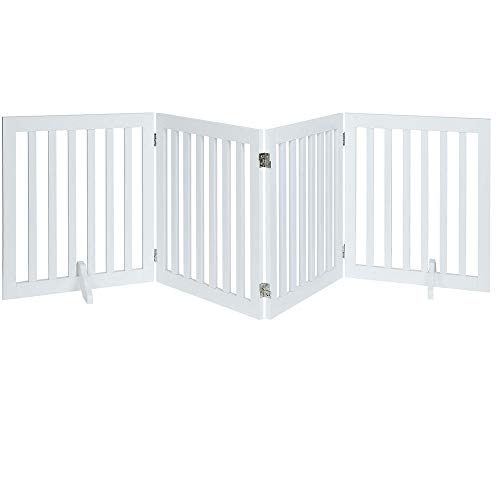 unipaws Freestanding Wooden Dog Gate, Foldable Pet Gate with 2Pcs Support Feet Dog Barrier Indoor Pet Gate Panels for Stairs, White (4 Panels, 20 inches Wide, 24 inches High)