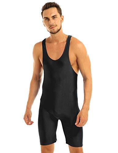 inhzoy Homme Body Débardeur Combinaison Sport Fitness Lingerie Bodysuit Justaucorps sans Manche Salopette Extensible Maillot de Corps M-XL Noir XL