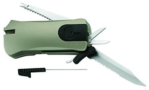 Herbertz Angler- und Outdoor-Tool, inkl. 2 Batterien CR2016 Messer, grau, M