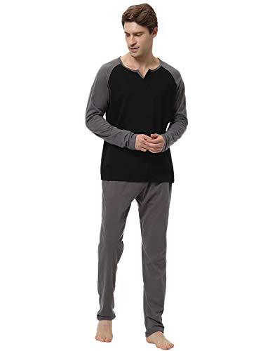 Aiboria Pijamas Hombre 100% Algodón 2 Piezas Calentito