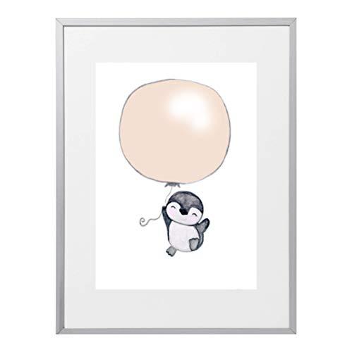 Bild Pinguin Luftballon Kinderzimmer | Kinderposter Babyzimmer | Kunstdruck | A4 Kinderbild | Poster Babyzimmer | Kinderzimmer Deko Mädchen Junge grau beige