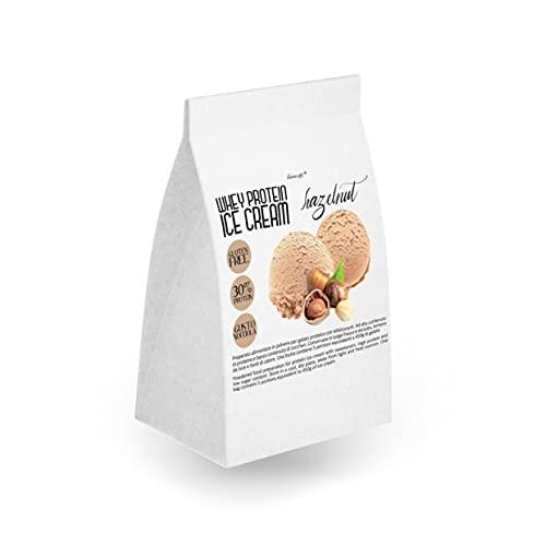 preparato per 450g di GELATO PROTEICO gusto NOCCIOLA | super cremoso e facile da preparare | 5 porzioni | senza glutine
