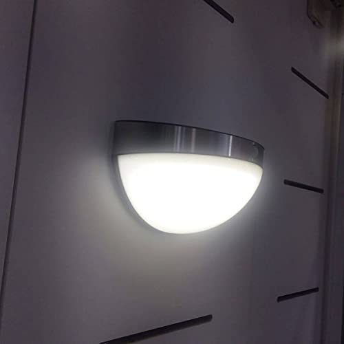 CGC Acero Inoxidable Solar LED Luz de pared al aire libre curvada seguridad PIR sensor de movimiento jardín porche patio cobertizo lámpara moderno nuevo globo
