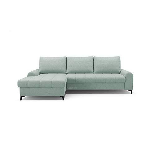 mb-moebel Ecksofa mit Schlaffunktion Eckcouch mit Bettkasten Sofa Couch L-Form Polsterecke Delice (Mintgrün, Ecksofa Links)