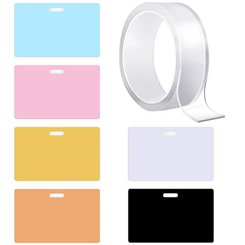 6 Pieces X-ray Marker Holders Assorted Colors PVC Xray Marker Holder with Nano Adhesive Tape, ID Card Name Tag Badge Holder for Doctors Workers Students