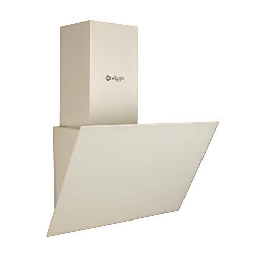 Wiggo Campana extractora de 60 cm, sin cabeza, con recirculación de aire, 300 m³/h, pantalla táctil LED, 3 niveles, filtro y 2 filtros de carbón, campana extractora con frontal de cristal, color crema