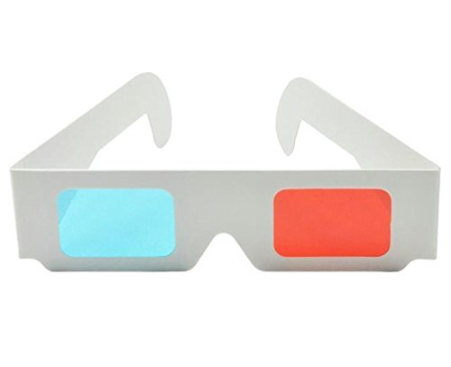 ASVP Shop 3D Glasses Made from White Card with Red and Cyan Lenses Suitable for Films, TV, Magazines, Comic Books, Anaglyph Videos, Internet Videos and Pictures and More (Pack of 4)