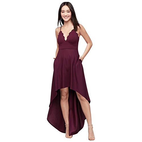 David's Bridal Scalloped Crepe High-Low Spaghetti Strap Dress Style C39811DDNE, Wine, 16