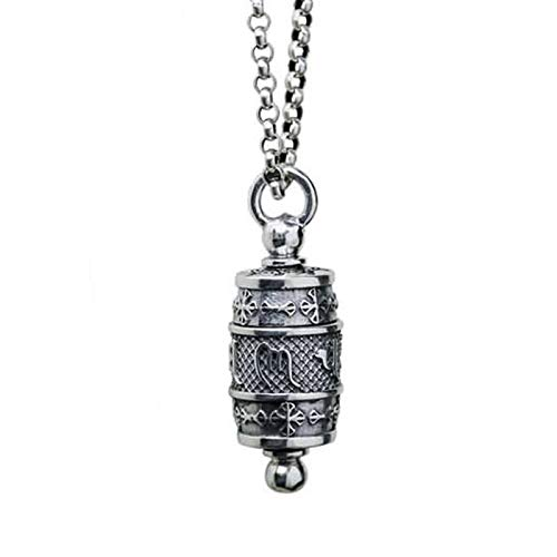 Beglie 925 Sterling Silber Herren Halskette Amulett mit Mantra Kette mit Anhänger Halskette Punk Stil B