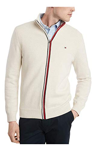 Tommy Hilfiger Men's Cotton Full Zip Sweater, Snow White Heather, Small