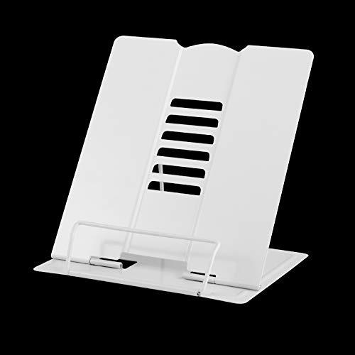MSDADA Grande Multifunzione Leggio in Libri, Regolabile Supporti per Libri, 6 Altezze Regolabile Metallo Book Stand per Libri, cuochi, Ricette, iPad,Musicale,Tablet (Bianco)