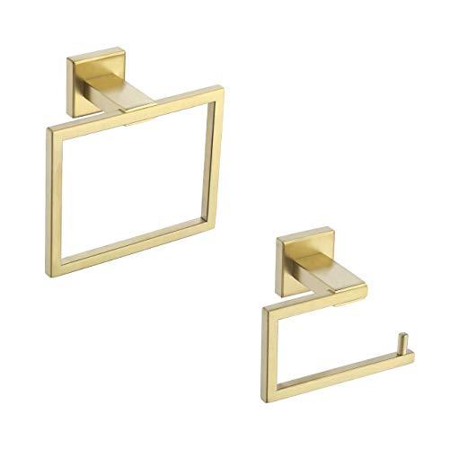 KES Bathroom Accessories Set Toilet Paper Holder Towel Ring SUS304 Stainless Steel Rustproof 2-Piece Modern Wall Mount Brushed Gold Finish, LA24BZ-21