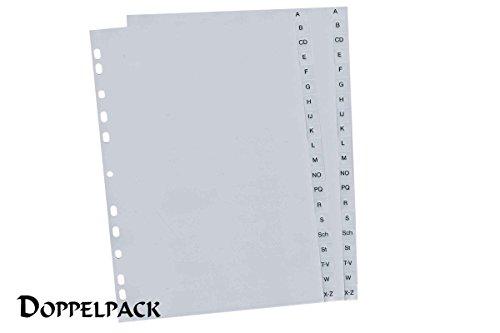 United® Office Kunststoffregister A-Z Doppelpack Grau Registerblätter