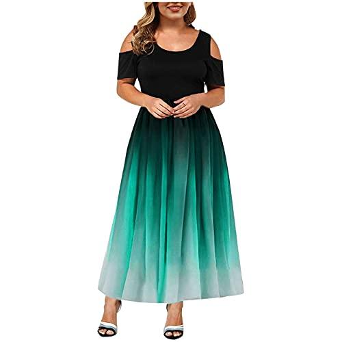 Summer Plus Size Maxi Dress for Wedding Guest, Women Tie Dye Sexy Lace Cold Shoulder Short Sleeve Crewneck Long Dress