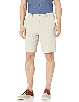 Haggar Men's Cool 18 Pro Straight Fit Stretch Solid Flat Front Short, string, 38