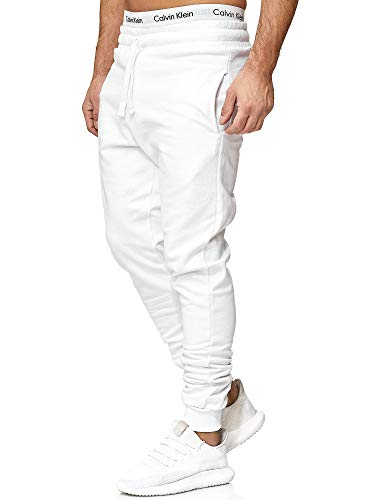 OneRedox Herren | Jogginghose | Trainingshose | Sport Fitness | Gym | Training | Slim Fit | Sweatpants Streifen | Jogging-Hose | Stripe Pants | Modell 5000C Weiss XL