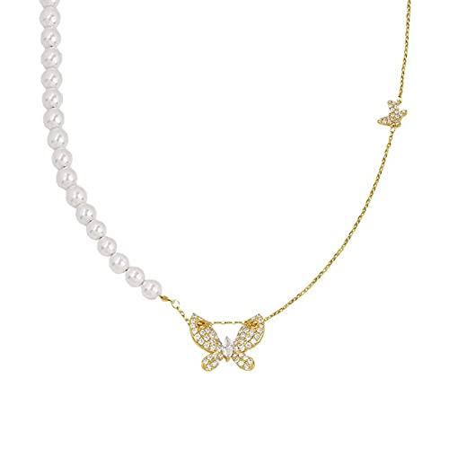 Collar Cadena de Perlas Costura Mariposa Colgante Collar Cadena de clavícula Moda Retro Chica Día Regalo Collar Salvaje