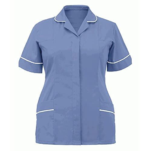 N\P Blusa médica para mujer con cuello vuelto y solapa para el cuidado de la clínica
