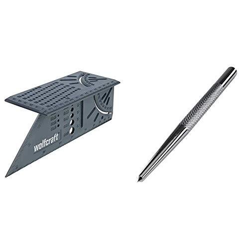 Wolfcraft 5208000- Escuadra (Regla) 3D + 7980010 punzón Cromado, para marcar el Punto de Taladro Pack 1, plata, 8 x 125 mm