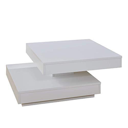 trendteam smart living Wohnzimmer Couchtisch Wohnzimmertisch Universal, 70 x 35 x 70 cm in weiß mit drehbarer Tischplatte