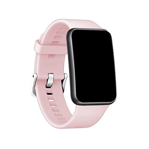 Adecuado para el Reloj Huawei FIT (TIA-B09 / TIA-B19) Correa, Correa de Gel de sílice, Pulsera de reemplazo de Silicona Zhenzhiyangshangmao (Color : Pink)