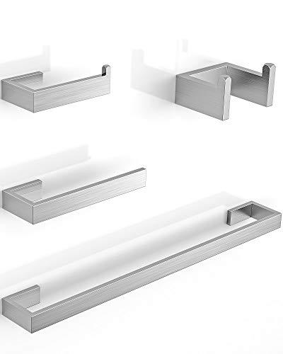 LuckIn Modern Bathroom Hardware Set, Includes 24 Inch Bath Towel Bar, Brushed Nickel, 4-Piece