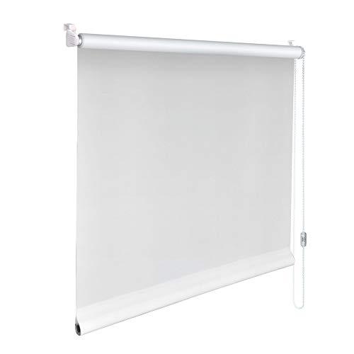 Sonnenschutz-HH® - Mini Sichtschutzrollo Minirollo Sonnenschutz Rollo KLEMMFIX Seitenzugrollo Kettenzugrollo inkl. Klemmträger ohne bohren - Außenmaß Breite 130 x 160 cm Höhe - weiß