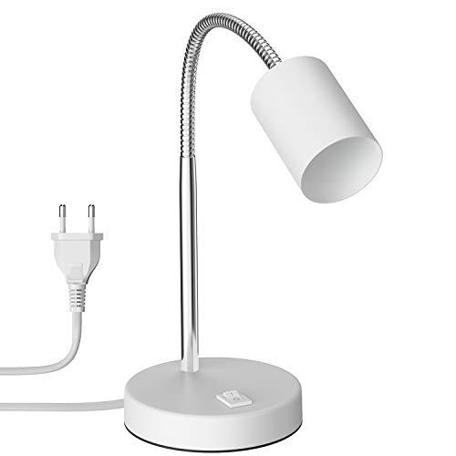 ledscom.de Lámpara de mesa WAIKA con pantallaWANEnhals e interruptor blanco mate GU10