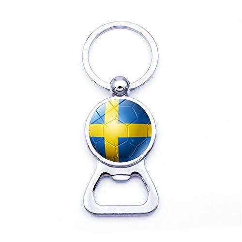 Qinlee Schlüsselanhänger Flaschenöffner Fußball Flagge Muster Pendant Junge Brieftasche Auto Anhänger Ornament Mode Geschenk für Fan Freund -Schweden