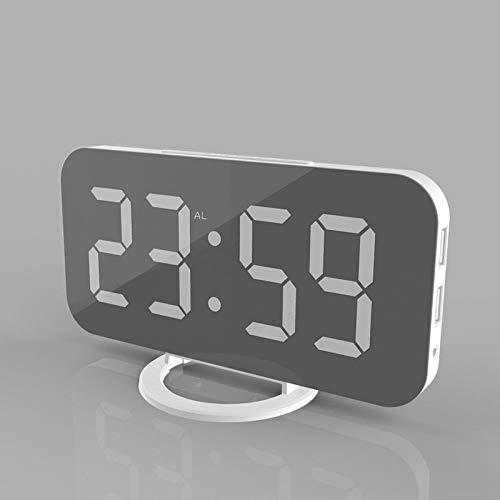FPRW Digitale wekker, nachtlampje 6,5 inch LED-display, elektrische klok, intelligente klok met sluimerfunctie en USB-laadstation op bed, wit, wit