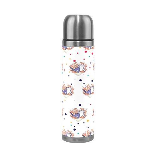 AEMAPE Botella de Agua de tiburón Martillo de Coral de Acero Inoxidable, Taza de vacío con Aislamiento térmico, Cubierta de Cuero, Taza de Viaje de 17 oz para niños y Adultos