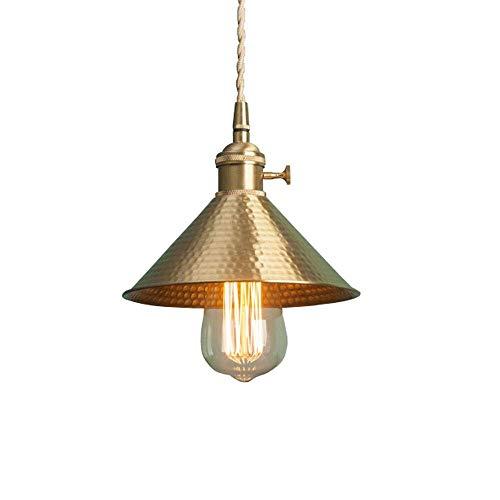JYDQM Iluminación Industrial Lámpara Colgante Vintage de 1 luz Luces Colgantes Lámpara de Techo Lámpara con Pantalla de Metal en Acabado de latón Antiguo