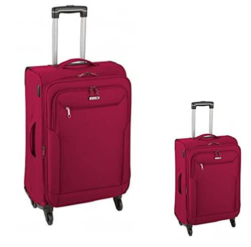 Set di 2 valigie trolley, 66 cm (con piega estensibile) + 55 cm (trolley) 4 ruote, rosso