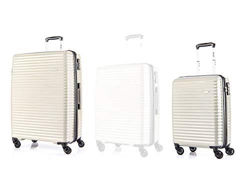 Verage Vortex 4-Doppel-Rollen Kofferset 2 teilig, TSA Schloss, Reisekoffer erweiterbar, großer Hartschale-Koffer mit Handgepäck S-55cm /L-75cm, Beige