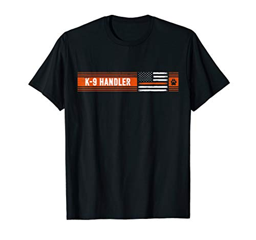K-9 Handler Search & Rescue - Thin Orange Line Flag K9 Unit T-Shirt