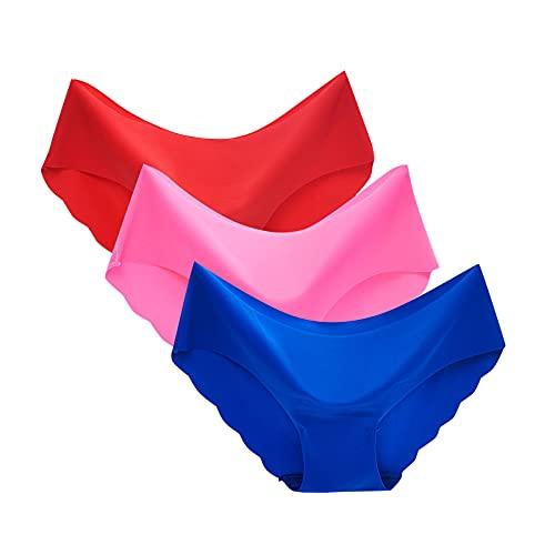 Esque Bragas De TriáNgulo Color SóLido para Mujer- Sexy Sin Costuras Seda Hielo Transpirable Cintura Media-3Pc Ropa Interior-Transpirable- HielocamisóN LenceríA Posterior Encaje-D-L