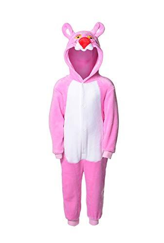 Matt Viggo Schlafanzug Mädchen Jungen Unisex Pyjama Kinder Kapuze Tiere Kostüm Overall Hausanzug, Pink Panther, 110