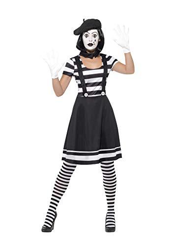 Smiffy'S 24627M Disfraz De Dama Mimo Con Vestido Cuello, Boina, Guantes, Medias Y Maquillaje, Negro, M - Eu Tamaño 40-42