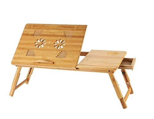 Klaptafel tuintafel eettafel computerbed bureau 100% bamboe met muisplatform inklapbaar bureau notebooktafel 45 * 35 cm