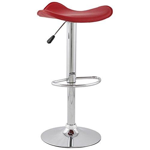 MK Tabouret Design Rond ADOUR en Simili Cuir et métal chromé (Rouge)