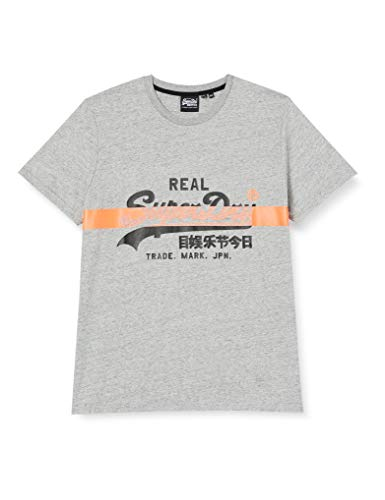 Superdry VL Cross Hatch Tee T-Shirt, Gris (Collective Dark Grey Grit 9SS), L Homme