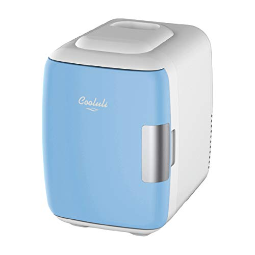 Cooluli Mini Fridge Electric Cooler and Warmer (4 Liter / 6 Can): AC/DC Portable Thermoelectric System w/ Exclusive On the Go USB Power Bank Option (Blue)