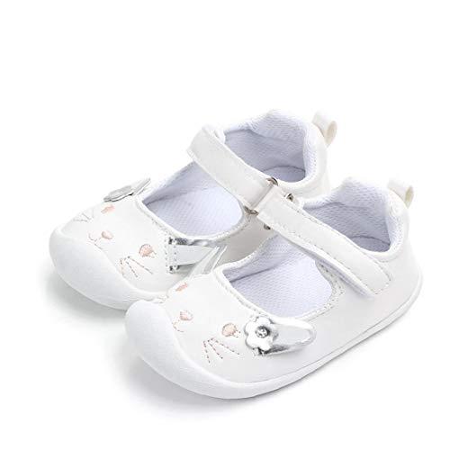 Feewerain Baby-PU-Leder-Schuhe Anti-Rutsch-Sohle Magie-Aufkleber-Entwurf Schuhe Mokassins Krippe Schuhe Indoor Prewalker Schuhe Weiß 13.5cm
